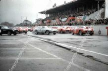 Ferrari 250 GT SWBs and Aston DB4GTs 'Le Mans start' 1960 Montlhery 1000kms GT Race